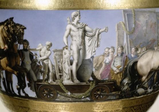 Napoleonove trupe dopremaju pokradeno umetničko blago iz Italije, detalj Sevr porcelana, početak 19. veka.