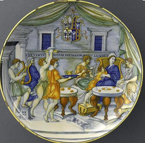 Nikola da Urbino, Banket muza, tanjir od majolike Izabele D'Este, 16. vek